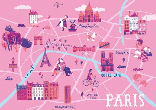 Ilustração do mapa de Paris