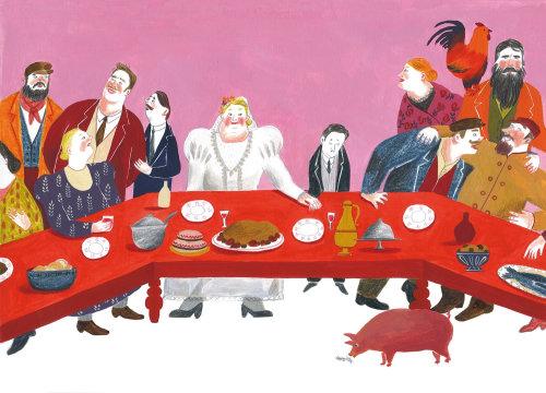 Sketch of family dinner