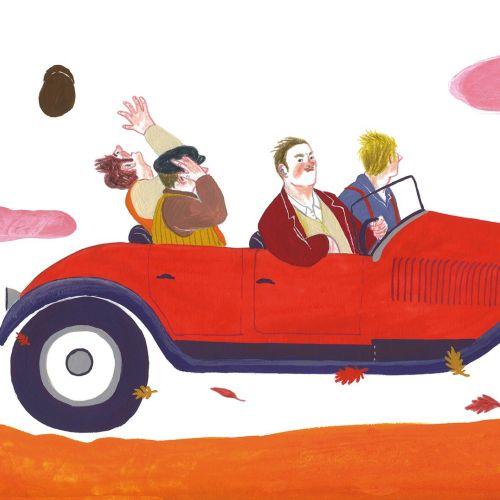 Watercolor illustration of driving car