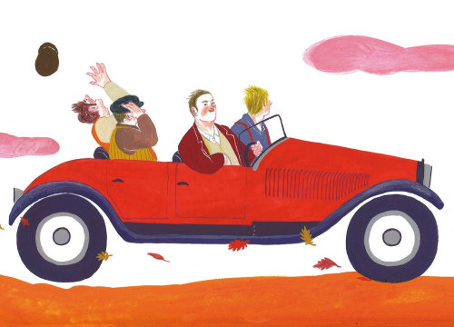 Watercolor illustration of driving car