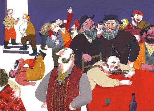 Pintura em aquarela de festa masculina