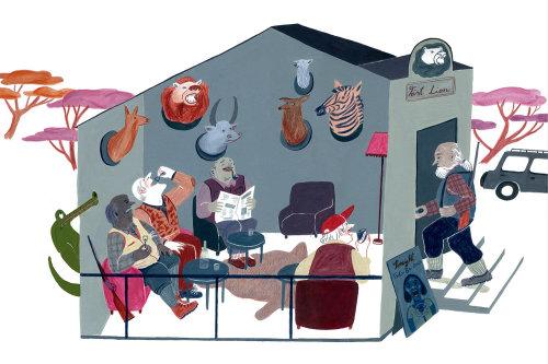 Ilustração em guache da casa da floresta