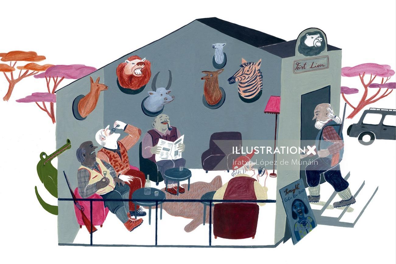 Gouache illustration of Forest house
