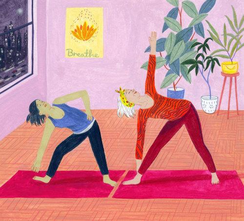 Ilustração de mulheres jovens exercitando