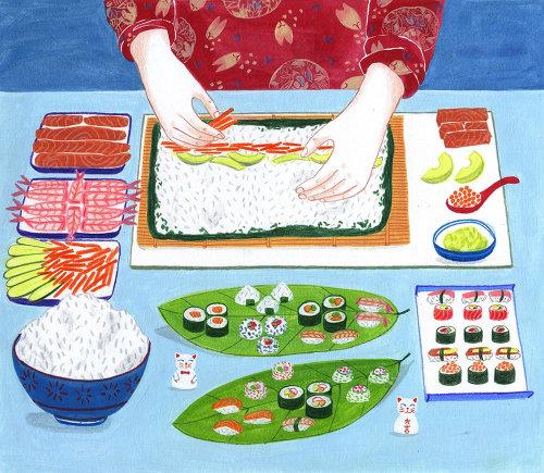 Senhora, preparar, sushi japonês, receita