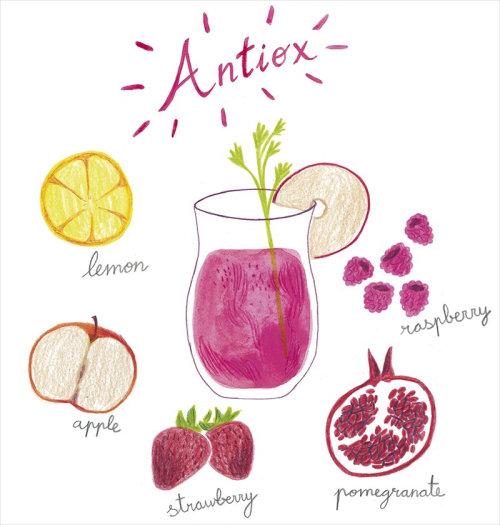 Ilustração da receita de suco Antiox.