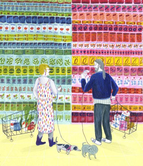 Ilustração de casais no super mercado