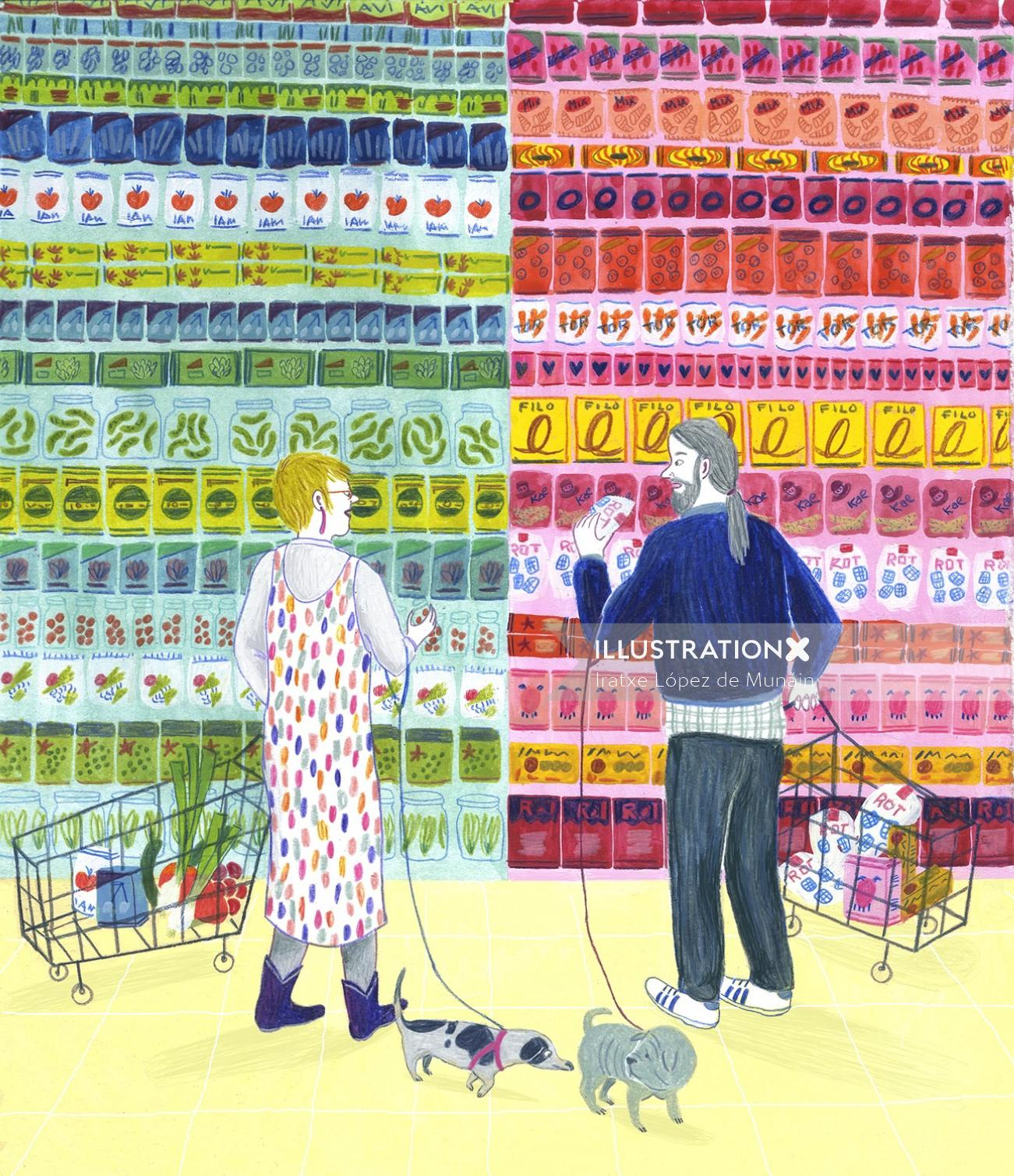 Illustration of couples in super market