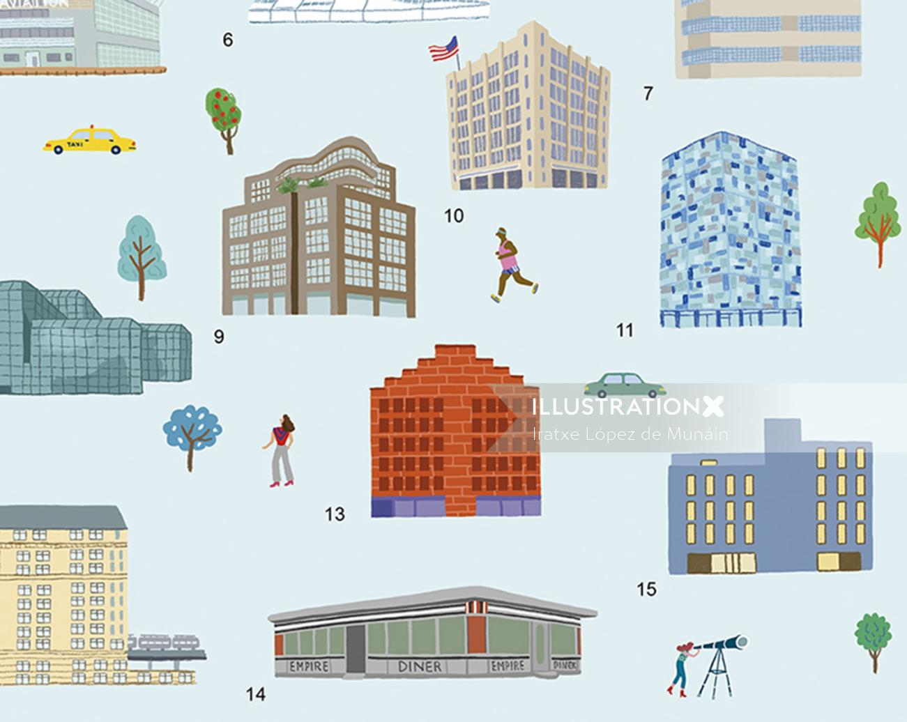 Watercolor drawing of building icons