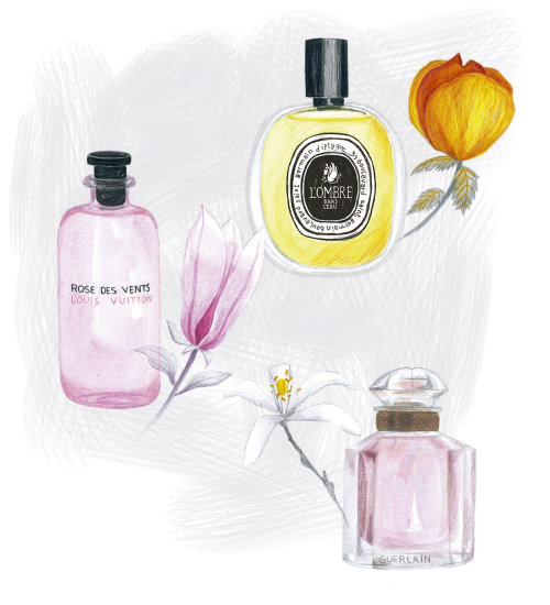 Fashion illustration of floral perfumes