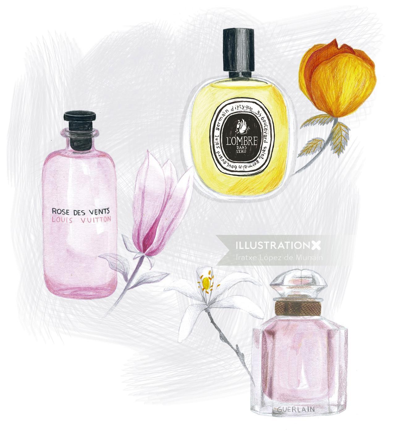 Fashion illustration of floral perfumes