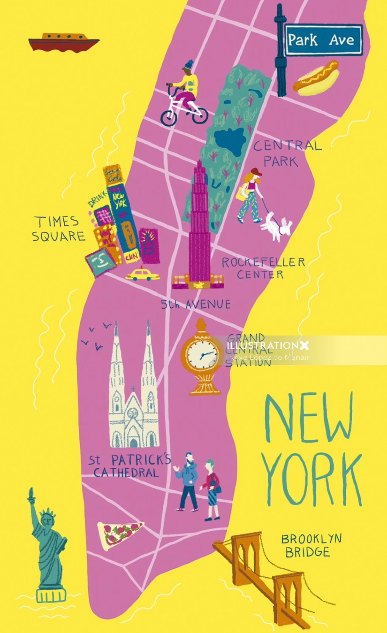 Graphic design of New York map