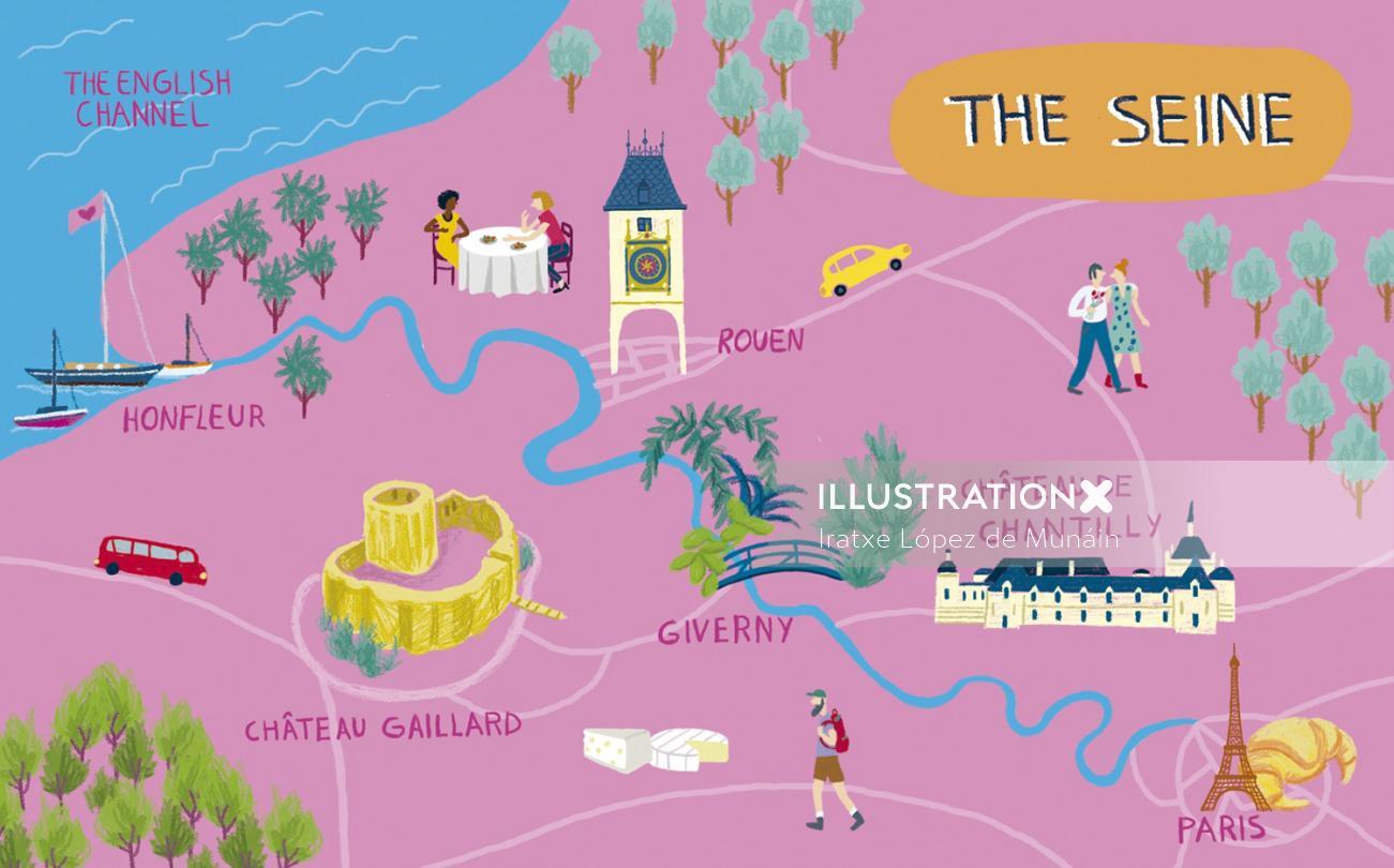 Map illustration of the Seine