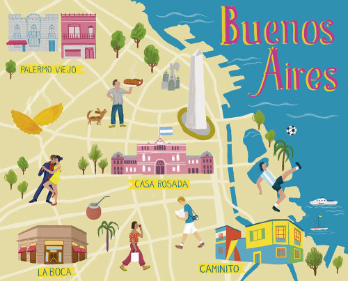 Map illustrated of Buenos Aires