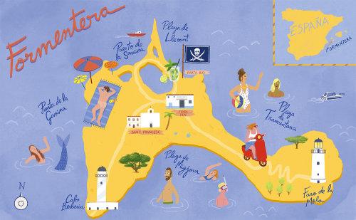 Mapa ilustrado de Formetera na Espanha.
