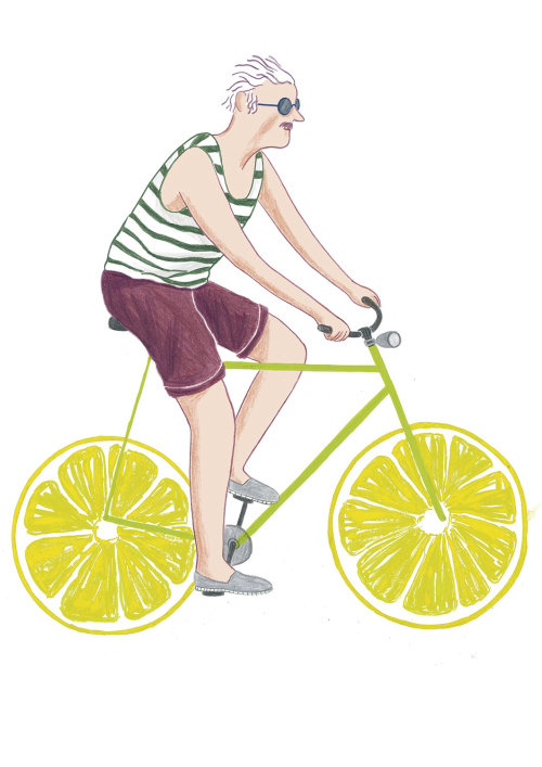 Graphic design of old man riding a cycle