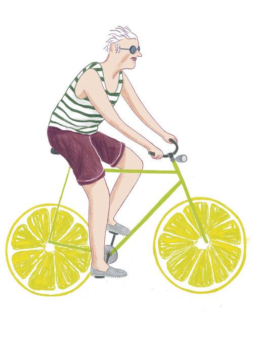 Design gráfico do velho, andar de bicicleta