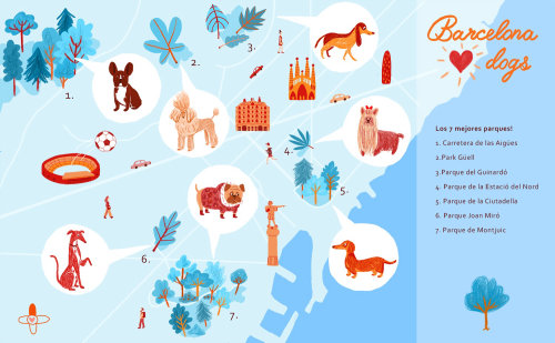 Illustration of city map of the best parks in Barcelona to go out with dogs