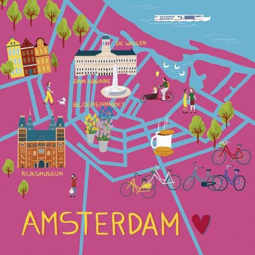 Graphic illustration of Amsterdam map