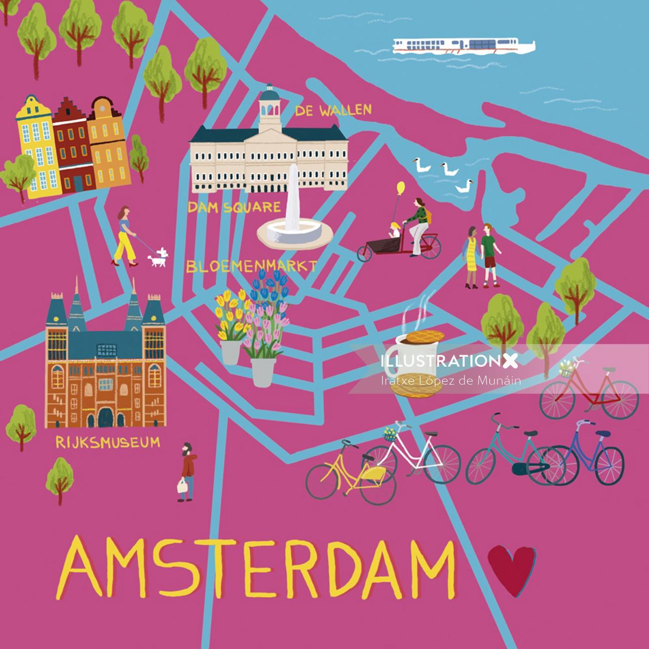 Graphic illustration of Amsterdam map