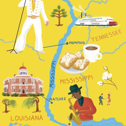 Map illustration of Mississippi for The Chelsea Magazine