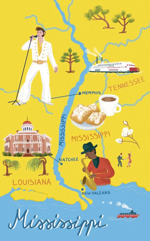 Map illustration of Mississippi for The Chelsea Magazine