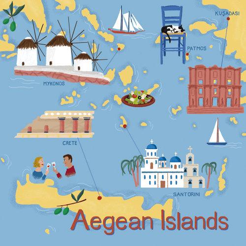 Ilustração do mapa das Ilhas Egeias
