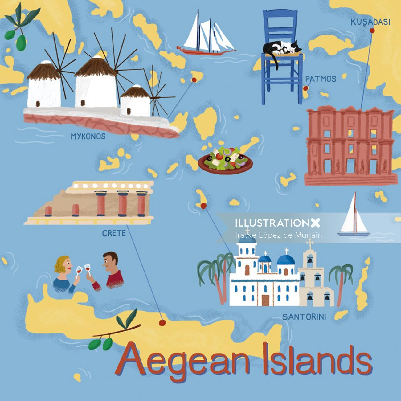 Aegean Islands map illustration