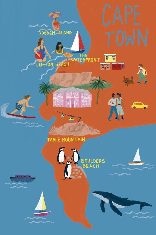 Ilustração do mapa da cidade do cabo