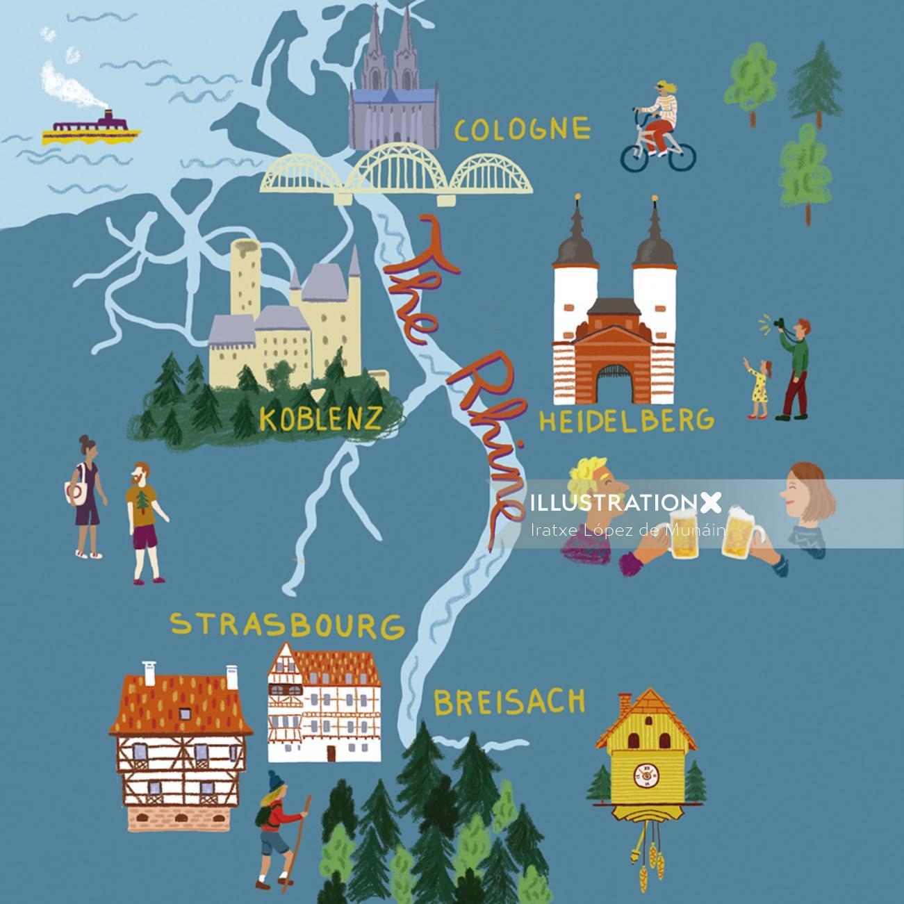 The Rhine River map artwork