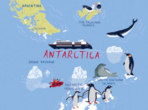 Antarctica map design by Iratxe López de Munáin