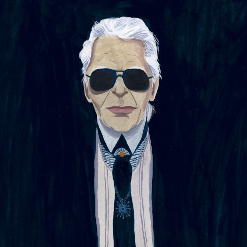 Portrait illustration of Karl Lagerfeld