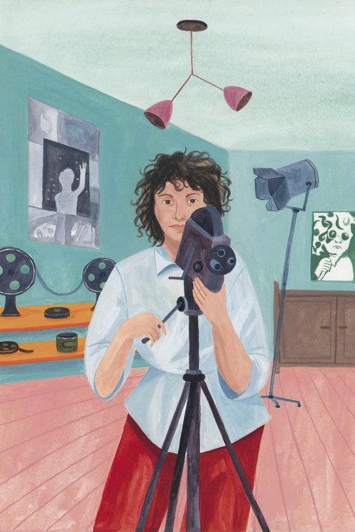 Design gráfico de menina com câmera