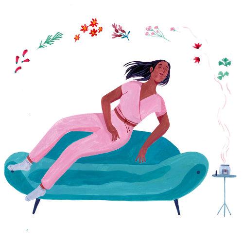 aromaterapia, saúde, flores, menina, mulheres, editorial, capa, estilo de vida