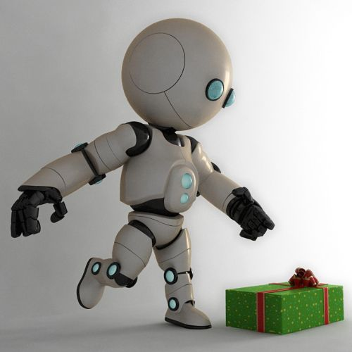 3d design of robot with gift