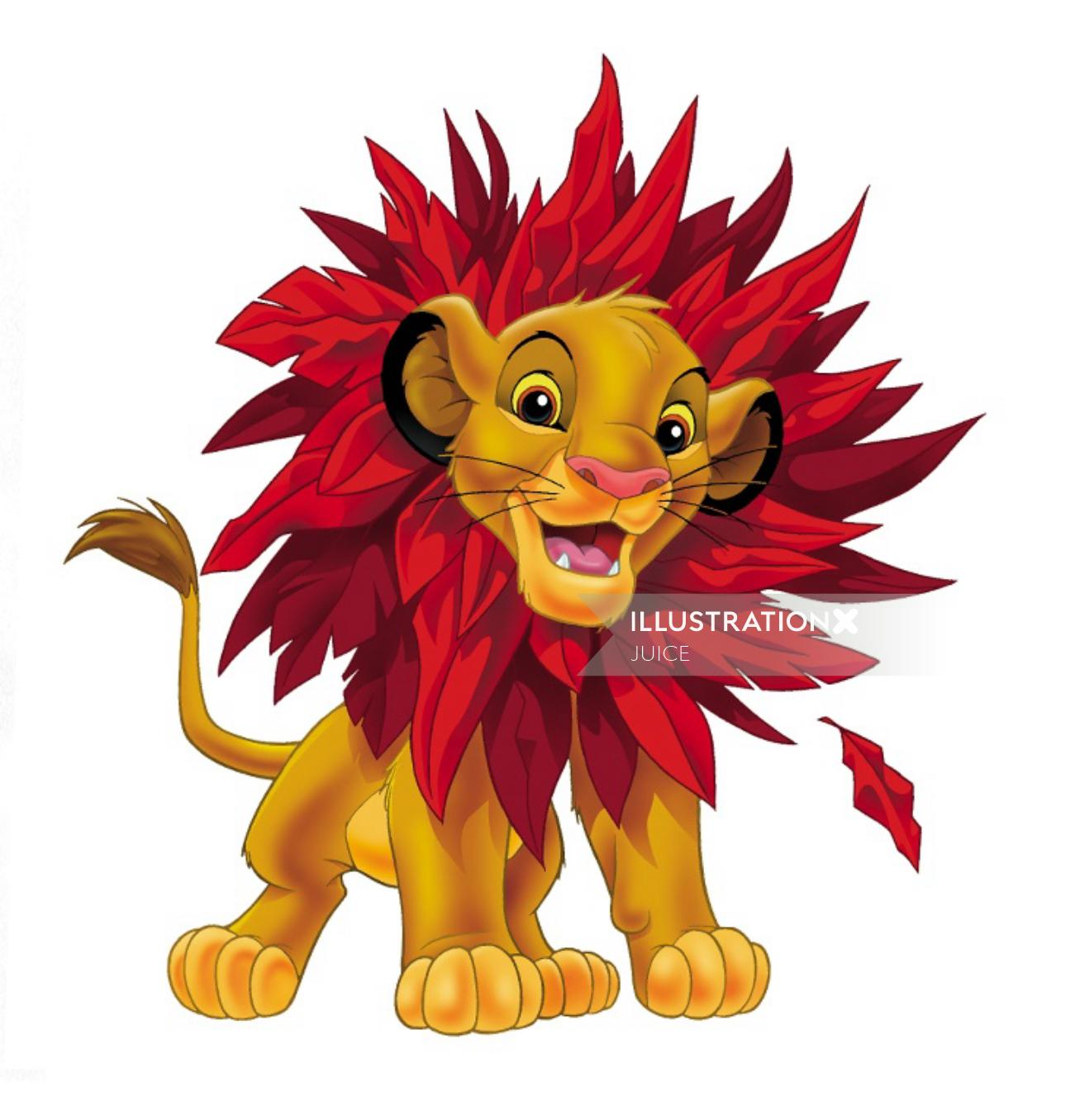 Cartoon illustration of lion