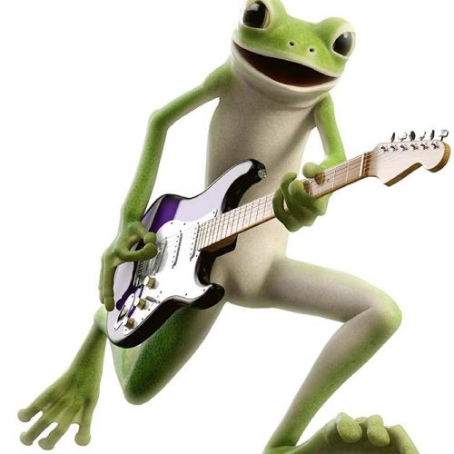 Comic art of Frog playing Guitar