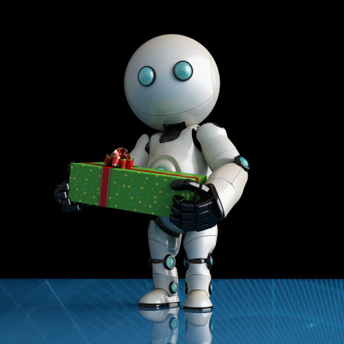 Graphic design of Robot with present