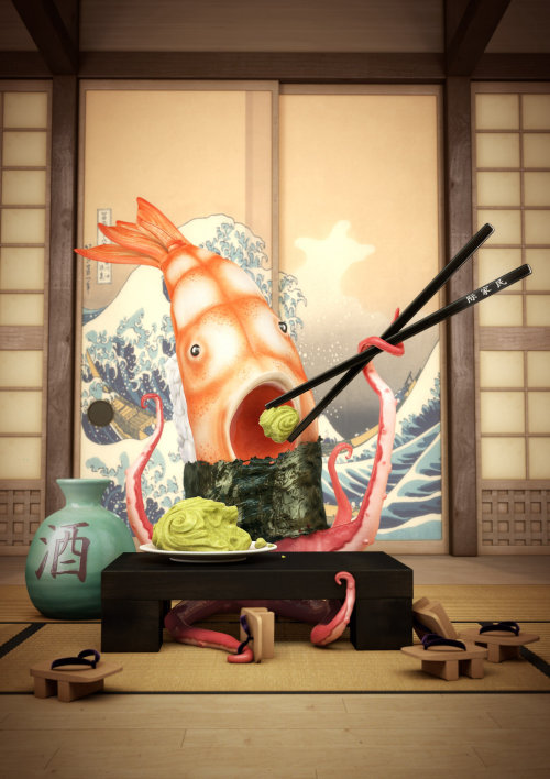 Photorealistic illustration of sushi