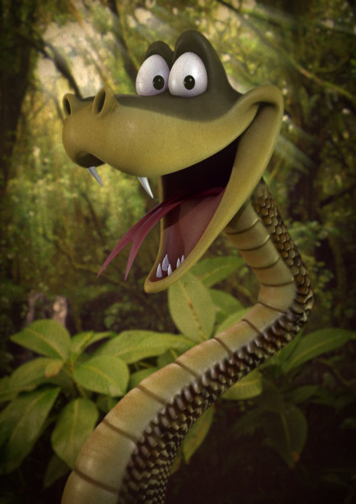 Cgi rendering art of Snakey