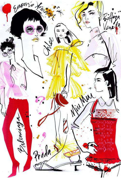 Dessin au trait des femmes de la mode