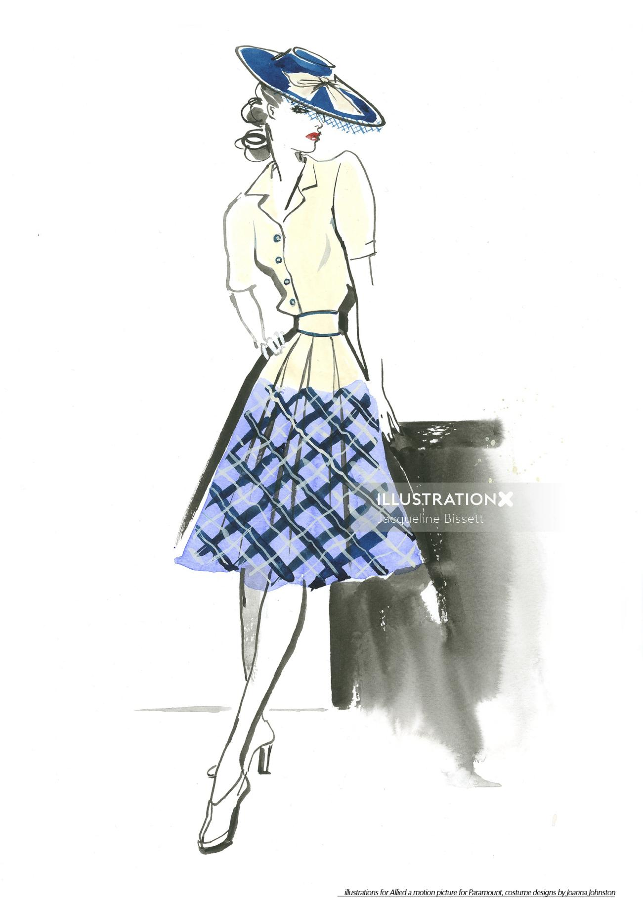 Woman fashion illustration by Jacqueline Bissett
