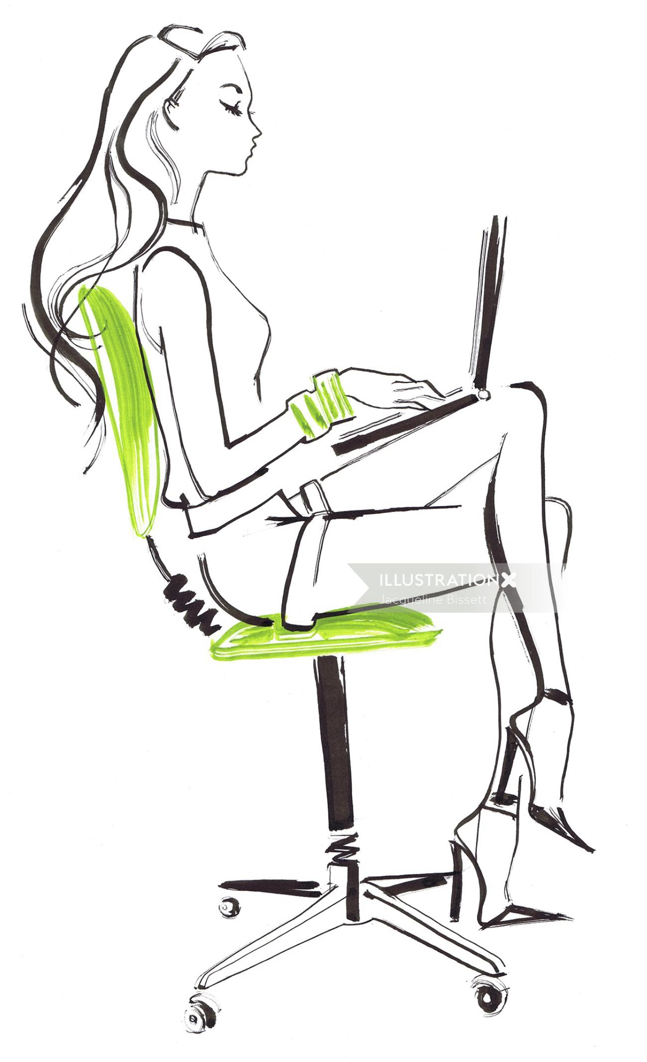 Woman working on laptop line drawing