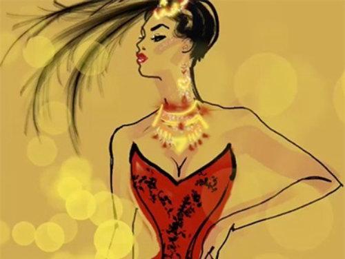 Fashion model drawing animation