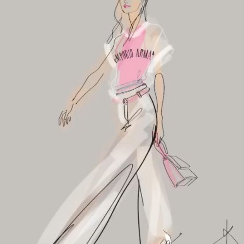 Line drawing animation of fashion model