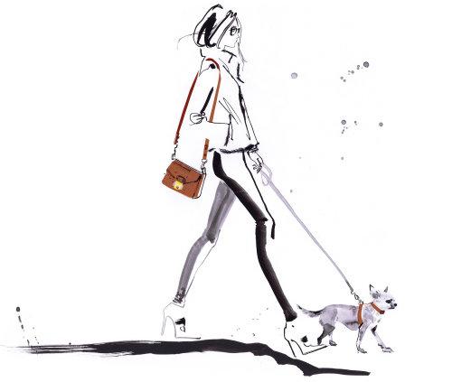 Dame de mode avec chien de compagnie