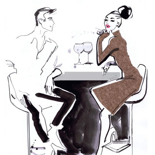 Line Art of Man and woman having drinks in Bar