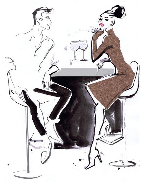 Dessin au trait de l'homme et la femme ayant des boissons au bar