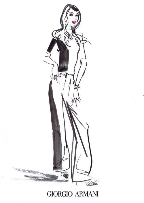 Croquis au crayon de l'élégante jeune femme