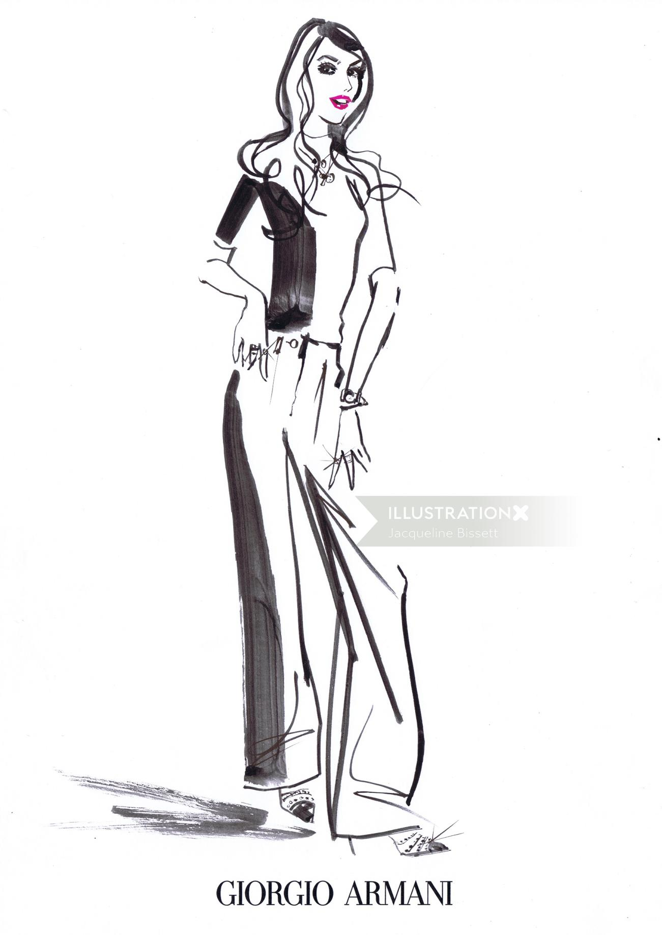 Pencil sketch of stylish young woman